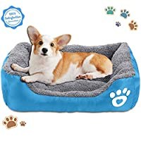 Bigzzia Dog Cat Bed, Soft Washable Pet Sofa Oxford Dog Basket Bed for Large Dog, Self Warming and Breathable Pet Bed Premium Bedding with Non Slip Water Resistant Base ((55 * 45 * 14cm))