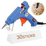 Heißklebepistole, Mture Klebepistolen Mini Heißklebepistole mit 30 Stück Klebesticks Transparente Klebepistole für DIY Kleine Handwerk und schnelle Reparaturen in Haus & Büro (Blau, 20 Watt)