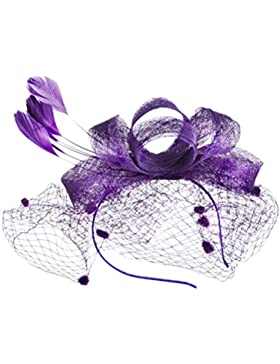 Zhhlinyuan Moda Womens Hair Accessories Handmade Bowknot Hats Dinner Banquet Net Hairband Linen Hats para mujeres