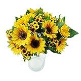 RYcoexs 7 têtes de Faux Tournesol Soie Artificielle Bouquet de Fleurs Maison de Mariage décor Floral