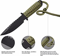 SWD Prime 7.5 inch Utility Combat Tactical Knife Camping Survival Knife Hunting Knife with Nylon Sheath Fixed Blade