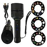 mxjeeio Roulette-Projektor LED Projektionslampe, Tiere und Monster Weihnachtsbeleuchtung mit 3 * 12 Folien Motiv-Lampen Tragbar Stativ Taschenlampe für Party/Geburtstag/Festival
