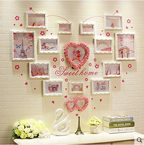 Decorazione domestica Photo Wall legno combinazione foto muro a muro photo frame parete a forma di cuore creativo personalizzato Nordic a forma di cuore WF ( colore : Bianca )