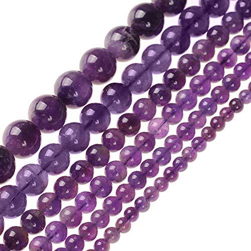 Perle rotonde sciolte, in pietra naturale, ametista e agata per fare gioielli, da 2,3,4,6,8,10,12,14,16mm, 6 mm