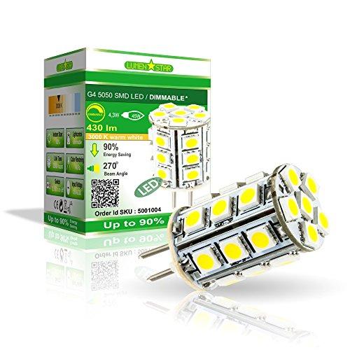 LumenStar® LED G4 Lampe Dimmbar 4,3 Watt - 430lm, 3000K warmweiß, 270° Abstrahlwinkel, ersetzt 45W - Napoli