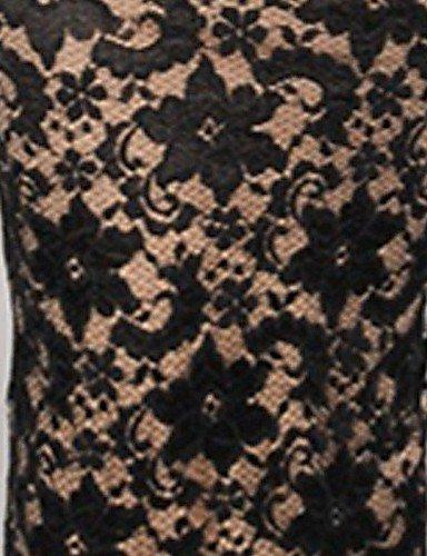 PU&PU Robe Aux femmes Moulante Sexy Sans Bretelles Maxi Polyester BLACK-M
