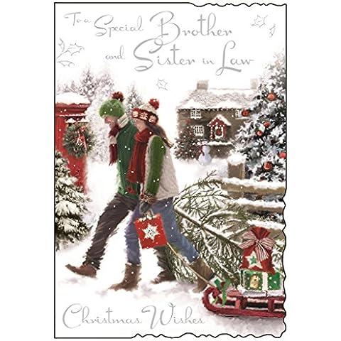 Jonny jabalina hermano y cuñada tarjeta de Navidad–pareja y regalos 22,86cm x 15,88cm