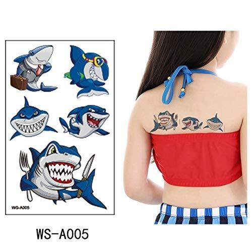adgkitb 5pcs Shark Tattoo Aufkleber Blau Fake Tatoo WS-A005 10.5x6cm
