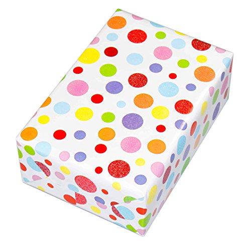 Geschenkpapier Kinder 3 Rollen (75 x 150 cm), Motiv Ballero, Punkte-Design hochwertig mit Glitter veredelt. Für Geburtstag, Kinder, Einschulung. Bunt-Glitzer und edel.