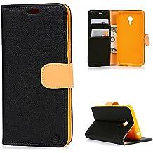 Meizu M2 Note Funda Libro de Paño Leather Cuero - Mavis's Diary Funda para móvil Carcasa Con Flip case cover,Cierre Magnético,Función de Soporte,Billetera con Tapa para Tarjetas-Color de negro