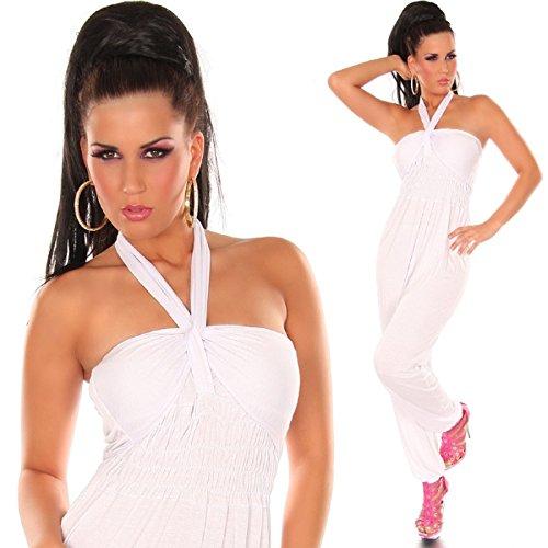 Damen Neckholder Overall, Ärmellos in vielen Farben erhältlich, Einheitsgröße (34 bis 40) Weiß