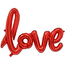 Cdet 1X Arreglo decorativo de la sala de la boda amor Love globo de aluminio en forma de corazón Rojo
