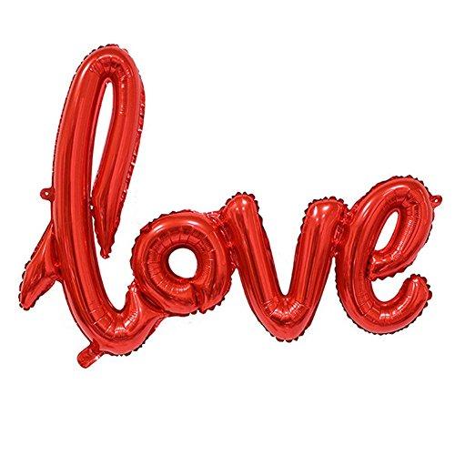 Hosaire 1X Romántico Ligaturas Letra de una Sola Pieza Love Globo de Aluminio Lámina Globo Aniversario Boda San Valentín Decoración de Fiesta Globo de Aluminio (Rojo)