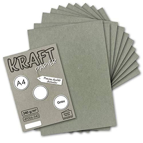 50x Vintage Kraftpapier in Grau - DIN A4 21 x 29,7 cm - 210 x 297 mm - 240 g/m² natur-graues Recycling-Papier, 100% ökologisch Bastel-Karton Einzel-Karte I UmWelt by GUSTAV NEUSER® (Graues Papier)