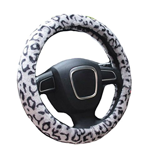 Liying Leopard Trendy Fluffy Steering Wheel Cover Comfy Soft Warm Super Feeling Furry Car Steering Wheel Covers-Grey