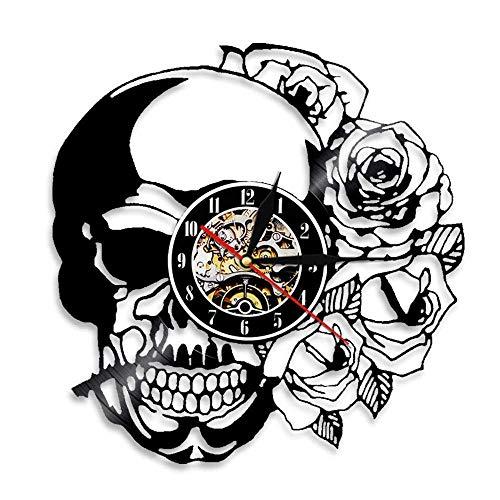 Vandelkt Tatuaje De Calavera Con Rosa Arte De Pared Reloj De Pared Esqueleto Calavera Espina Rosas Disco De Vinilo Reloj De Pared Gótico Decoración para EL Hogar Reloj De Pared Reloj Sin Led