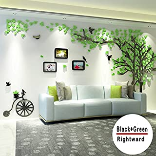 Topmail Family Tree Wall Stickers Large 157×300 cm/62×118 inch Green Leaves Removable Vinyl 3D Tree Wall Stickers for Bedroom & Nursery Wall Decals with 3 Photo Frames(L, Green Leaves, Right)