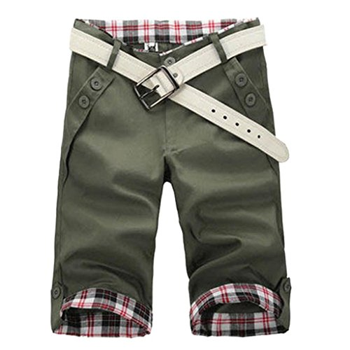 Minetom Men Casual Plaid Pleated Shorts Cotton Shorts Knee Length Jeans Cargo Combat Pants