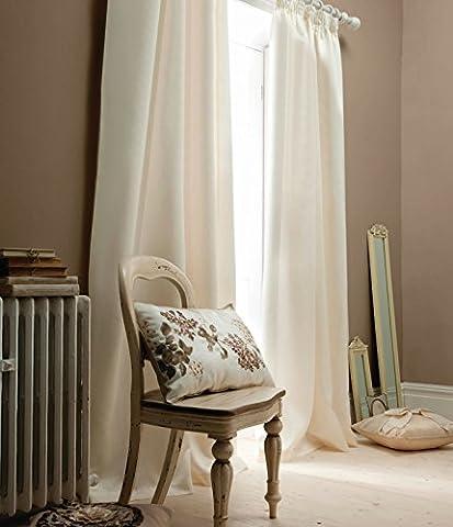 Catherine Lansfield 90 x 108-inch Plain Faux Silk Eyelet Curtains, Cream
