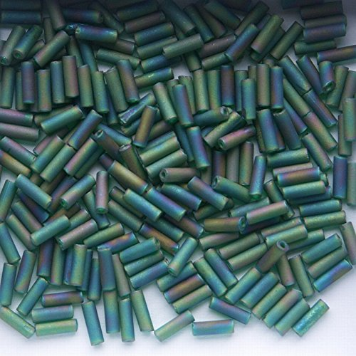 Emerald Frosted AB Glass Bugle Beads 100g 6mm BU6-023F