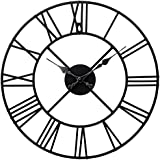 TrendMakers Stunning Metal Roman Numeral Clock - Black 'Iron'