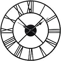 TrendMakers Stunning Metal Roman Numeral Clock - Black 'Iron'
