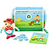 Yellodoor Baby First Aid Kit 68 Pieces of Essential Medical Grade Supplies for Kids, Family Home, Car and Travel, Includes Humpty Dumpty Finger Puppet Distractor and Reward Stickers.100% Vegan
