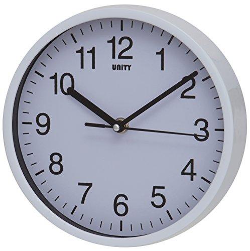 Unity Radcliffe Horloge Murale silencieuse Blanc, Plastique, Blanc, 20 cm L x 20 cm W