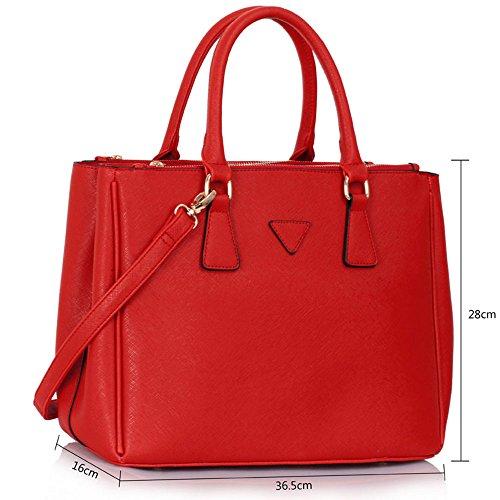 Frauen Handtaschen Damen-Schultertasche Artleder 3 Fach Trage neue Promi-Stil groß (A - Schwarz/Nude) B - Rot