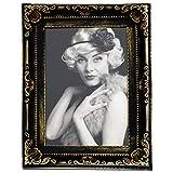 WOLTU BR9750 Bilderrahmen Fotogalerie Fotorahmen Bilder Collage in 13x18cm, Barock Design Kunststoff Rahmen, Pappe Rückseite, Glasscheiben, Schwarz-Gold