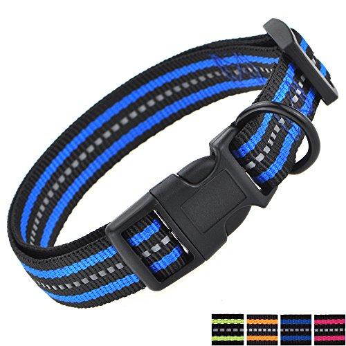Mile High Life Night Reflektierende Doppelstreifen Nylon Hundehalsband (Blau, X-Small Neck 9