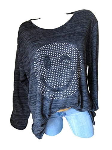 Oversize Shirt Tunika Pullover SMILEY Glitzer Nieten A-Form 42 44 46 Schwarz