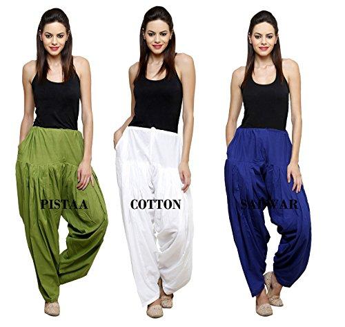 Pistaa's Women's Cotton Dress Material (CSPSMGMWRB_Free Size_Mehendi Green::Milky White :: Royal Blue)