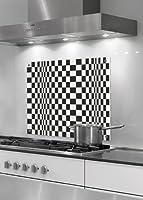Küchenrückwand aus stabilem Sicherheitsglas (ESG) - Top Qualität made in Berlin - Motiv Op-Art Quadrat 8a, Grafik - Format 50 x 75 cm - stylischer Wandschutz und Spritzschutz für Herd, Küche und Kochbereich - ohne Bohrlöcher (Silikonverklebung)