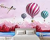 BZDHWWH Custom Wallpaper Cartoon 3D Wohnzimmer Himmel Märchen Heißluftballon Traum Kinder Zimmer Hintergrund 3D-Tapeten,210cm (H) x 315cm (W)