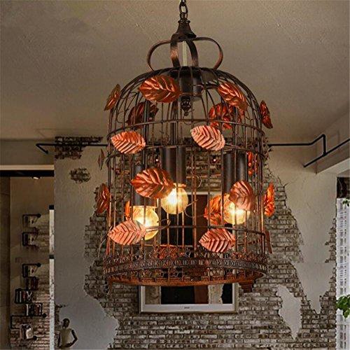 OOFAY Kronleuchter Schmiedeeisen Beleuchtung Deckenleuchte Lampe Vogelkäfig Hängeleuchte 220V H 50 Cm X W 25 Cm
