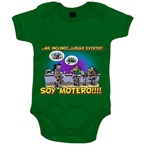 Body bebé me inclino luego existo soy motero - Verde, 6-12 meses