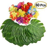 """Kuuqa 60 piezas decoraciones para fiestas tropicales 8 """"hojas de palmeras tropicales Monstera y flores de hibisco, hojas de simulación para fiesta hawaiana Luau Jungle Beach decoraciones de mesa temáticas"""