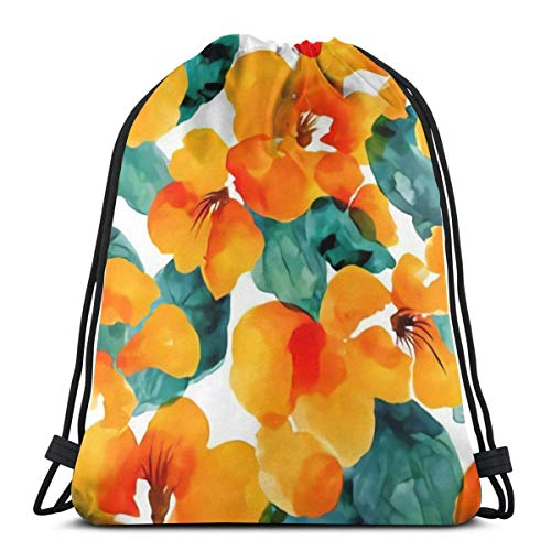 GHMJVHFG Drawstring Bag Bundle Backpack Cinch Sacks Bulk Sackpack Watercolor Orange Floral Background Home School Hiking Travel Bag -