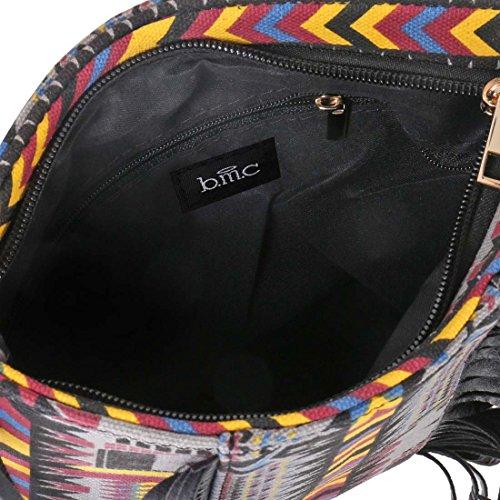 BMC Damen Bunt Tribal Muster Troddel Akzent Dünn Mode Handtasche Clutch Schwarz Quasten