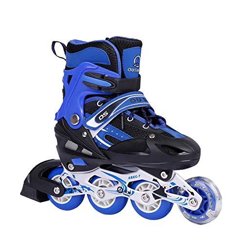 GUOCU Inline Skates Kinder/Erwachsene verstellbar mädchen/Jungen Inline Skates Rollschuhe PU Verschleißfeste Roller Skates Herren/Damen,Blau,L(39-42)