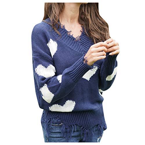 Inawayls Pullover Damen Oberteile Elegant Sexy Tops Langarmshirt V-Ausschnitt Oberteile Sweater Mode