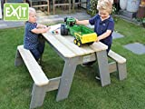 EXIT Aksent Sand-, Wasser und Picknicktisch mit 2 Bänken und 2 Kunststoffbecken / Material: Fichte / Maße: 94x121x50 cm / 16,5 kg