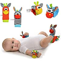 Baby Rattle Neonato Sonagli Calzini da Polso a Sonaglio per Bambini, Simpatici Animaletti Developmental Soft Toys Bambole per Neonati Neonato, 4 PACK