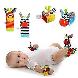 Baby Rattle Neonato Sonagli Calzini da Polso a Sonaglio per Bambini, Simpatici Animaletti Developmen