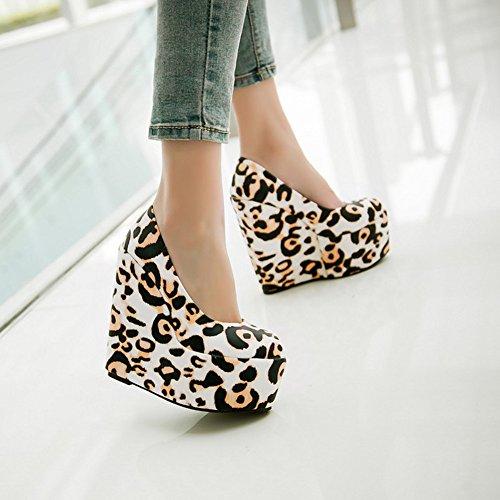 YE Damen Geschlossen Runde Zehe 6 inch High Heels Plateau 16cm Absatz Leoparden Wedges Keilabsatz Party Pumps Shoes Gelb
