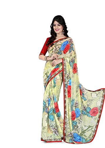 Sharda Sarees Georgette Saree (Red-Off White) with Blouse Piece