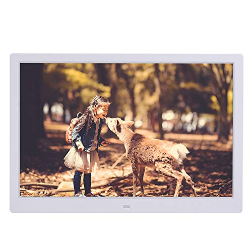 TONGTONG 14 Zoll Digital Photo Frame, 1280x800 HD Picture Video Frame Music, E-Book, Kalender, Alarmuhr, unterstützt Multiple File Formate und Externe USB-SD-Speicher,White - Digital Photo Zoll Frame 14