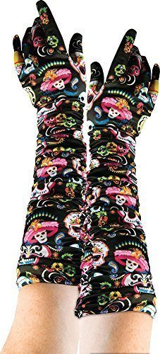 Damen Halloween Kostüm Party Zubehör Gruseliges Outfit Tag der Toten Handschuhe