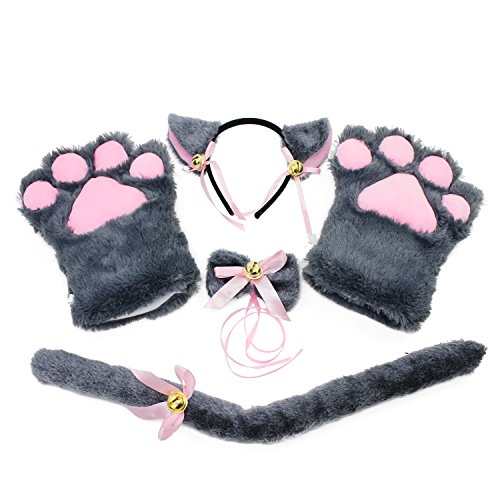 Set Kostüm Katze - KEESIN Katze Cosplay Set Plüsch Klaue Handschuhe Katze Kätzchen Ohren Schwanz Kragen Pfoten Cute Adorable Party Kostüm Set für Kinder und Erwachsene (Grau)